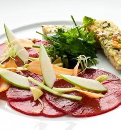 Carpaccio de boeuf charolais, galette de légumes