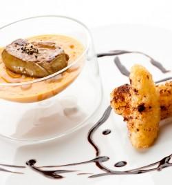Mousseline de potirons - tranche de foie gras poêllé, beignet